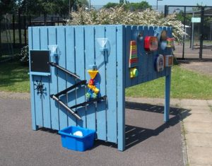 The bright blue activity stand