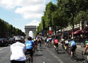 Cycling up the Champs Elysee