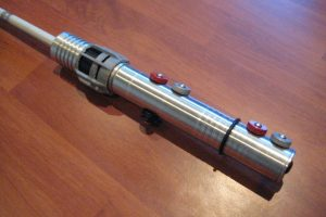 A silver lightsabre handle