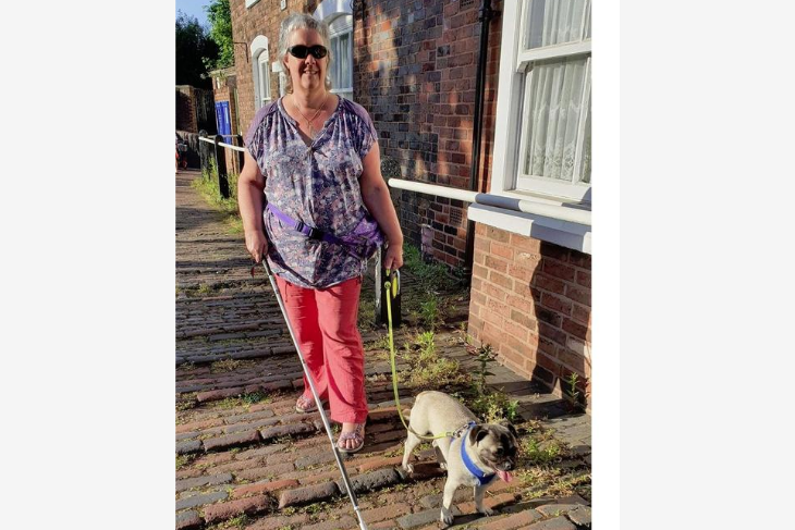 Tracey and her dog out for a walk